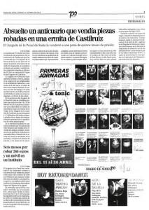 Nuevo artículo publicado en el Diario de Soria sobre la absolución del anticuario implicado en el robo de la Ermita